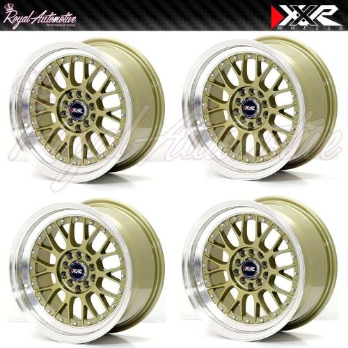 XXR 521 Deep Dish Alloy Wheels 16x8 ET20 4x100 4x114 Polished Gold JDM Euro JAP